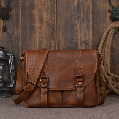 Top Flap Hasp Soft Genuine Leather Shoulder Bags Cotton Solid Briefcase Real Cowskin Men Vintage Cross-body Male Messenger Bag