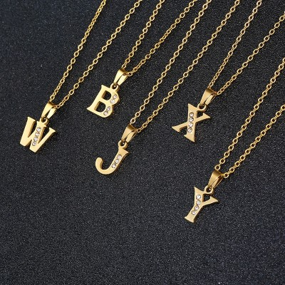 Iced Out Zircon Crystal Alphabet Letter Choker Necklaces For Women Gold Chain 26 Initial Necklace Collares Bijoux Femme