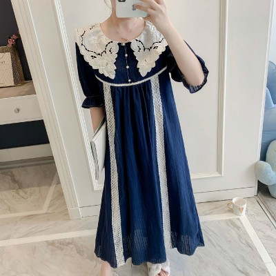 Nightgowns Sleepshirts Embroidery Longuette Woman Cotton Home Clothing Nightgown