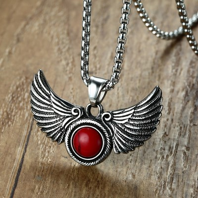 Gothic Angel Wings Pendant Necklace with Red Stone Goth Male Jewelry for Men Women Stainless Steel Vintage Jewellery 24
