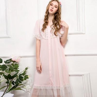 Pink Nightgown Summer Sleepwear  Women Nightdress Lace Vintage