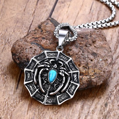 Mens Necklaces Pendants Stainless Steel Blue Natural Stone Araneid Spider in Web Pendant Necklace Men Vintage Bike Punk Jewelry