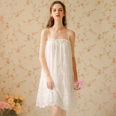 Sleeveless Nightgown Camisole Sleepwear Summer Sexy Skirt Nightdress Woman Lace Nightwear Sweet Fairy Lady Nightgown Strap Dress
