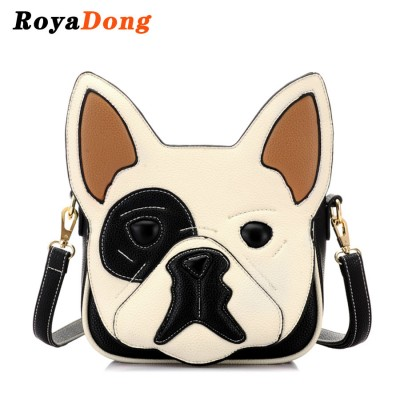 RoyaDong 2019 Women Bag Artificial Leather Dog Shape Cute Handbag Novelty Patchwork Bag For Teenage Girls