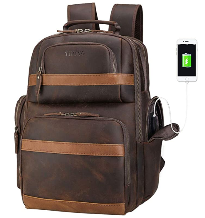 Original Brand Leather Backpack 15.6 inch Laptop Backpack Vintage Business Travel Bag Large Capacity School Daypacks with USB Charging Port & YKK Zippers