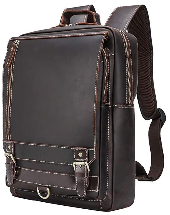 Original Brand Leather Backpack Vintage 15.6 Inch Laptop Backpack Business Travel Bag Schoolbag Shoulder Daypack for Men