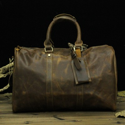 Classic 100% Vintage Cowhide Leather Men Travel Bags Genuine leather shoulder bag  Luxury leather bag