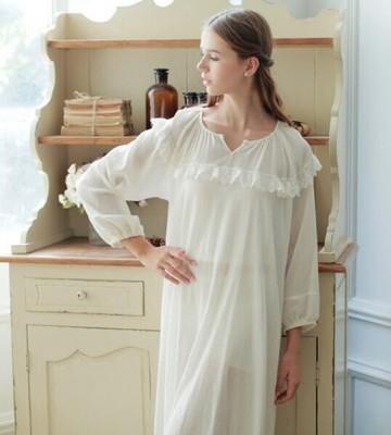 White Sleepwear Nightdress Women Lace Lace Nightgown Dress Princess Vintage Bedgown Soft Cotton Vestidos