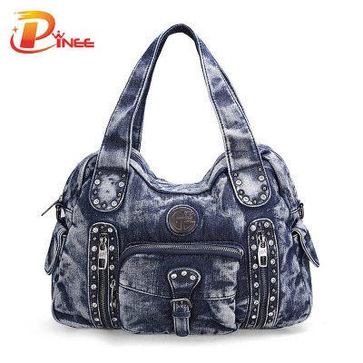 Vintage Denim Shoulder Bags Rock Style Fashion Denim BACKPACK Casual Shoulder Bags Vintage Demin Blue Top Handle Bags