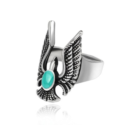 Vintage Punk Blue Natural Stone Eagle Ring For Men Gothic Classic Motorcycle Biker Animal Cool Man Rings Mens Jewelry Anillos