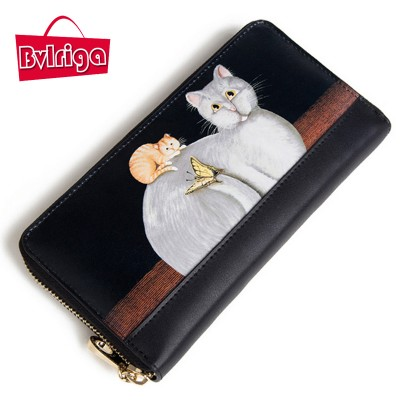 BVLRIGA Women 100% genuine leather wallet high quality famous brands long purses bag fashion cat ladies wallets high clutch bag