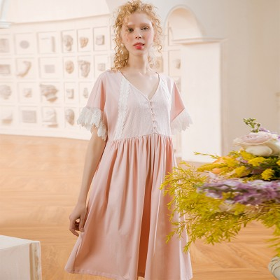 Nightgown Women Cotton Summer Short Sleeve Nightdress Solid Color Cotton Pink Sleepwear Pregnant woman Nightgown