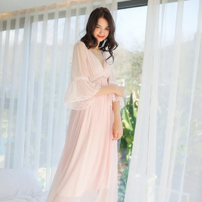 Elegant Sleepwear Sexy Ladies Nightgown Summer Royal Nightgown Dress Princess Women Sleepwear