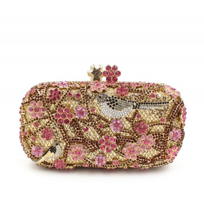 Luxury high-end luxury crystal diamond Flower Hollow evening bag dinner Shoulder handbag Purse full diamond handbag clutch