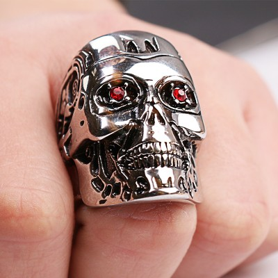 Weight 31g High Quality Steampunk Biker Terminator Mask SKull cool Men Rings Retro Red crystal Jewelry
