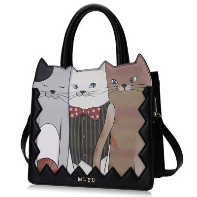 2019 New Braccialini Style MUYU Brand Design Art Three Cats Women Handbag Female Messenger Bag Shoulder Bag Totes Bag