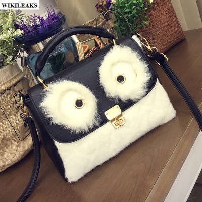 Women brand OWL Bag Crossbody Handbags Ladies gold buckle High Quality retro satchel Leather handles fur bolsa clutch pu cartoon