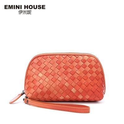EMINI HOUSE 3 Colors Fashion Sheepskin Hand-Woven Knitting Women Clutch Bags Genuine Leather Clutches Women Clutch Purse