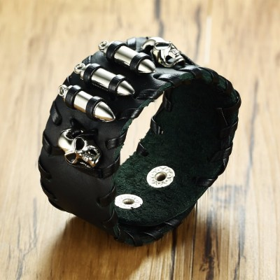Vintage Skull and Three Bullets Black Leather Biker Bracelet Wrist Cuff Wristbands Gothic Goth Rocker Male Jewelry