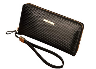 Superior High Quality 2019 New Arrival Men's Fashion Genuine Leather Cowhide Plaid Handbag Wristlets Clutches Wallet Purses