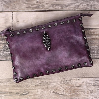 Genuine Leather Cowhide Retro Rivet Hand Bag Vintage Solid Women Party Day Clutches Crossbody Bags Shoulder Handbags Satchels