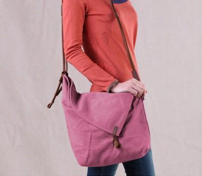 2017 Vintage canvas bag crazy horse leather messenger bag preppy style unisex casual women's handbag