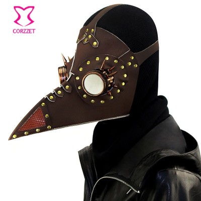 Brown PU Leather Rivet Vintage Steampunk Plague Bird Mask Gothic Plague Doctor Costume Accessories Halloween Anime Cosplay Props