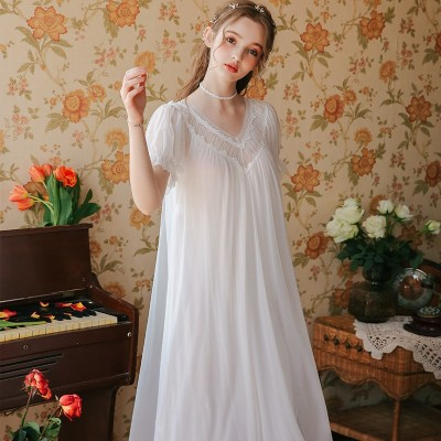 Summer Nightgown Dress Sexy Woman Lace Princess Nighty Nightgown Girl Women Nightwear Sleep Lounge