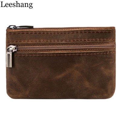 Vintage Mens Purse Genuine Leather Small Wallets Mens Coin Purse Key Bag Brown Mini mens wallet with zipper compartment Money Wallets