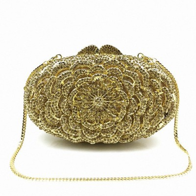 ForUForM Flower shape Luxury crystal Clutch bags bling rhinestone evening bags Female women evening clutch bag party bag LI-1567