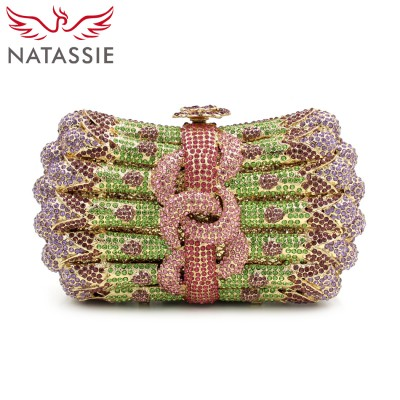 NATASSIE Women Evening Bags Ladies Evening Crystal Clutch Bags Gold Clutches Sliver Wedding Purses