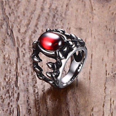 Mens Red Crystal Gothic Dragon Tooth Ring Silver Tone Stainless Steel Punk Men Biker Jewelry anillos hombre bague
