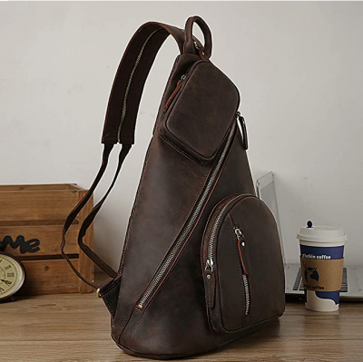 New Brand Mens Leather Crossbody Sling Bag Casual Shoulder Daypacks with USB Charging Port
