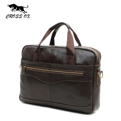 CROSS OX Genuine Leather Brown Men Briefcase 14 Laptop Business Bag Cowhide Men's Messenger Bags Lawyer Handbags HB387F
