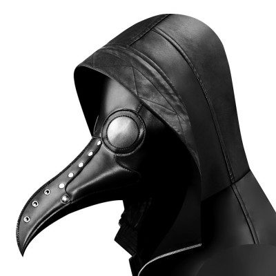 Halloween Gothic Black PU Beak Mask Steampunk Plague Doctor Retro Cool Bird Mouth Mask Masquerade Party Cosplay Props