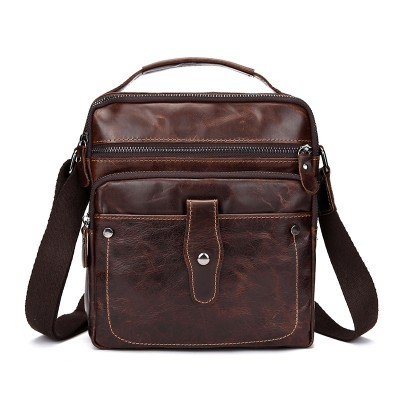 Oil wax first layer of leather men's business bag retro leather shoulder bag man bag Mobile Messenger tide