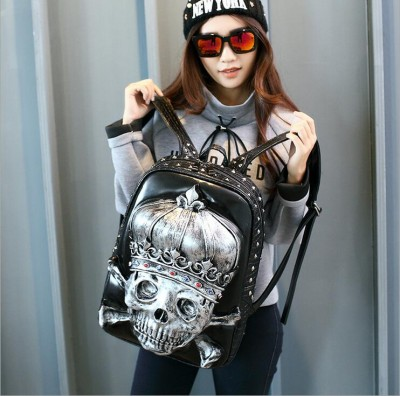 Fashion 3D Crown Skull King Zombie Gothic Backpack Leather Shouler Bag for Girls and Boys BLACKGOLDSILVER