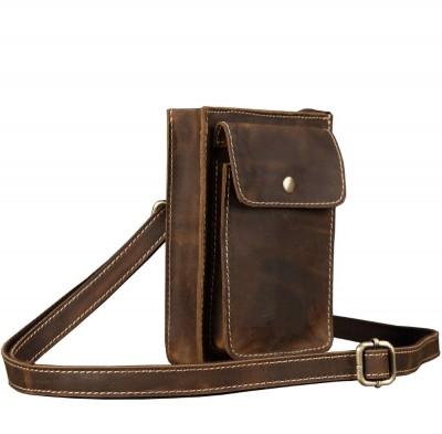 100% genuine leather waist phone bag men genuine leather waist bag with shoulder strap Cow leather waist packs brown belt pack