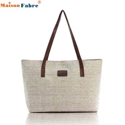 Maison Fabre Women Handbag Canvas Shoulder Bags Appliques Portable Bag Large Capacity Lady Shopping Linen Casual Totes