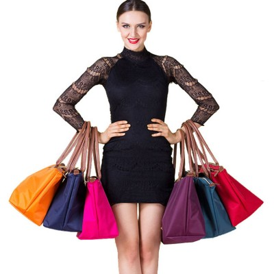 Women shoulder bags leather nylon fold bag messenger medium folding nylon tote bag travel bags school shoppingbags Bolsas Hobos