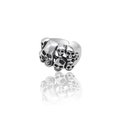 Punk Gothic Skeleton Ring Men Vintage Many Skull Head Ring Motor Biker Man Finger Rings Jewelry Drop Shipping Anillos