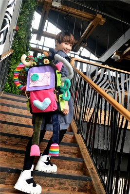 No.3 Robot Unique Handmade Canvas Backpacks Tote Bags Shoulder Bags Travel Bags Shopping Bags