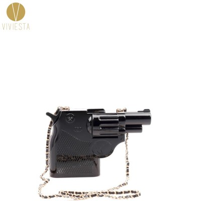 3D PISTOL GUN SHAPED HARD CASE CLUTCH - Womens Halloween Rock Gothic Street Fashion Novelty Fun Party Statement Bag Handbag