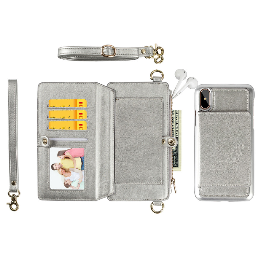 Silvery Purse and Phone Case Bag Multi-function Phone case Messenger Bag for Iphone 6/6s/6 plus/6s plus/7 plus/8 plus/ 7/8/x Samsung s8/s8 plus Cell Phone Bag with Shoulder Strap Small Phone Bag Cell Phone Pouch Purse Purse with Phone Holder