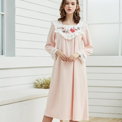 Women Nightown Embroidery Nightgowns Velvet  Elegant Sleepwear L Winter Nightdress Pink