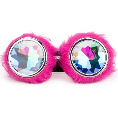 Kaleidoscope Lens Rave Festival Party EDM Glasses Cosplay Punk Vintage Glass Goggles Cute Pink Hairy Decoration