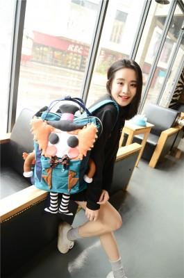 Alice in Wonderland Mad Hatter Funny Creative Backpacks Handmade Canvas Backpacks Shoulder Bags