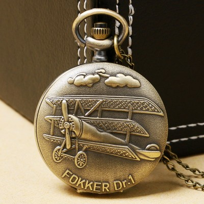 Vintage 3D Airplane Design Bronze Quartz Pendant Fob Pocket Watch With Necklace Chain Free Shipping Gift For Men Women