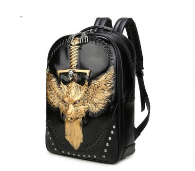 New 2017 Fashion Personality 3D skull leather backpack rivets lion backpack with Hood cap apparel bag cross bags hiphop man
