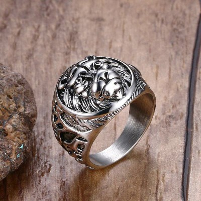 Mens Vintage Rings Stainless Steel Lion Head Rings in Silver color Metal Rock Punk Style Gothic Biker Men Jewelry Aneis Anillos